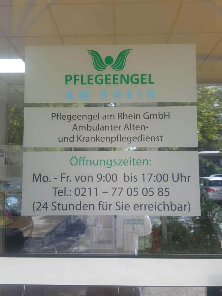 Eingangsschild bei Pflegeengel am Rhein in Düsseldorf